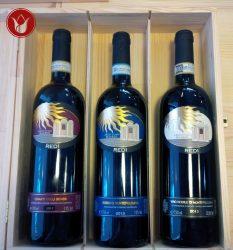 Tris vini Montepulciano Redi