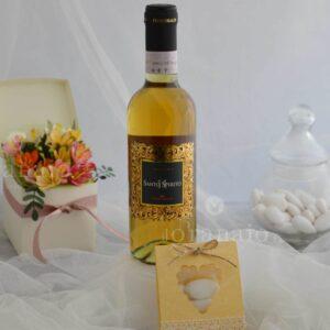 vino liquoroso con scatolina di confetti